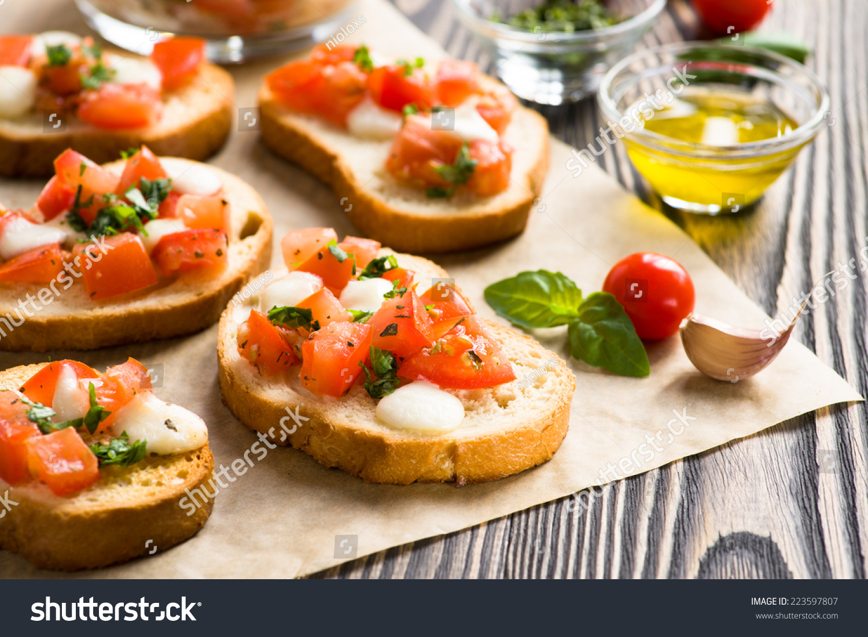 Bruschetta Roasted Tomatoes Mozzarella Cheese Garlic Stock ...