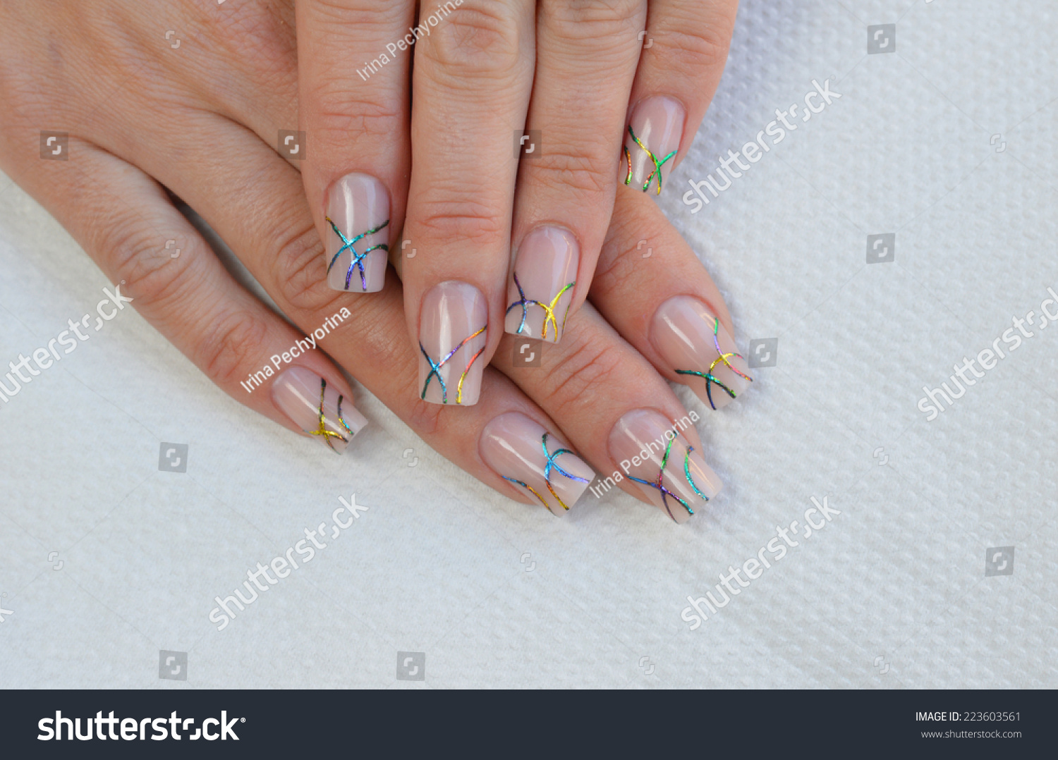 Beautiful nude nail art design rainbow stock photo 223603561 beautiful nude nail art design with rainbow transfer foil prinsesfo Gallery