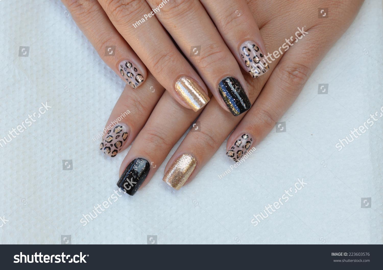 Beautiful Leopard Print Nail Art Design Stock Photo (Royalty Free ...