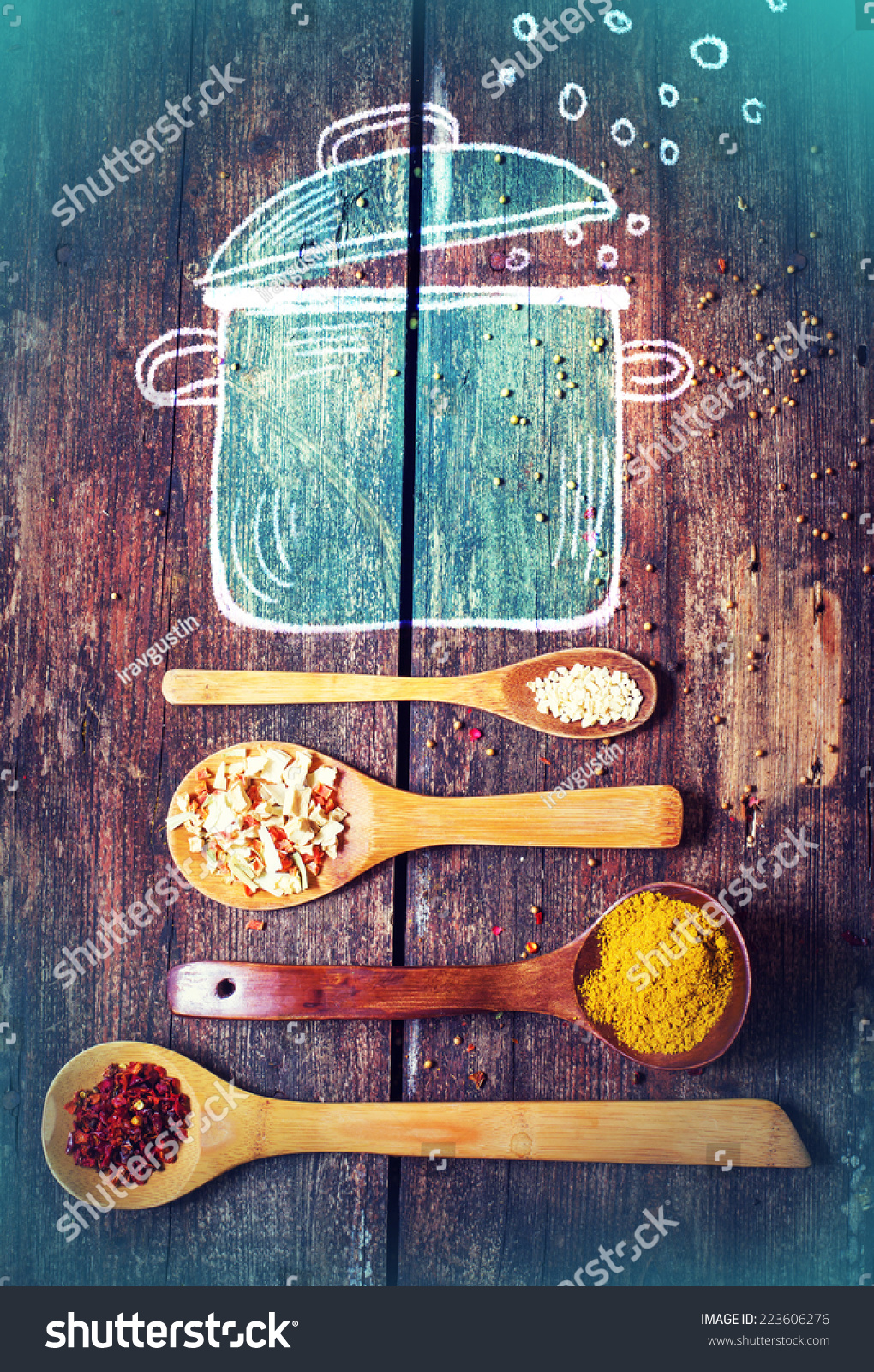 Rural Vintage Wood Kitchen Table Drawing Stock Photo (Edit Now ...