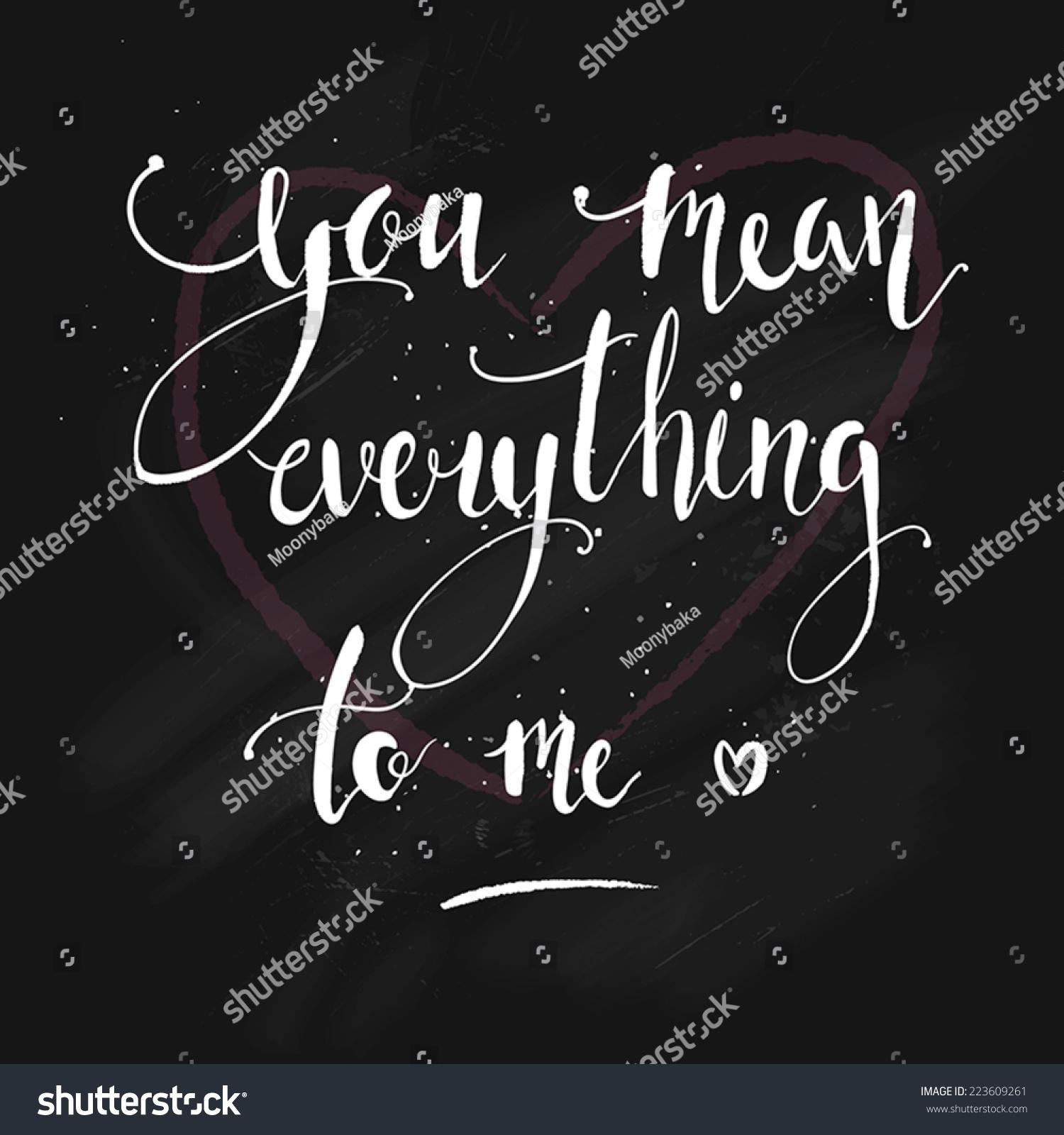 Cute Love Message On Chalkboard Saying Vectores En Stock