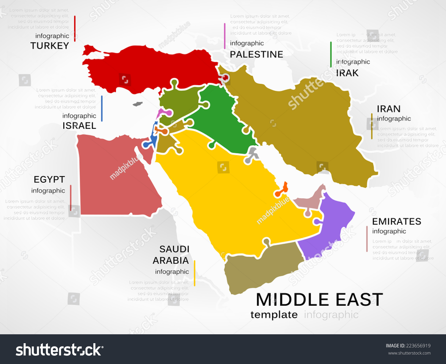 Middle East Map With Countries.Middle East Map Concept Infographic Template Stock Vector Royalty