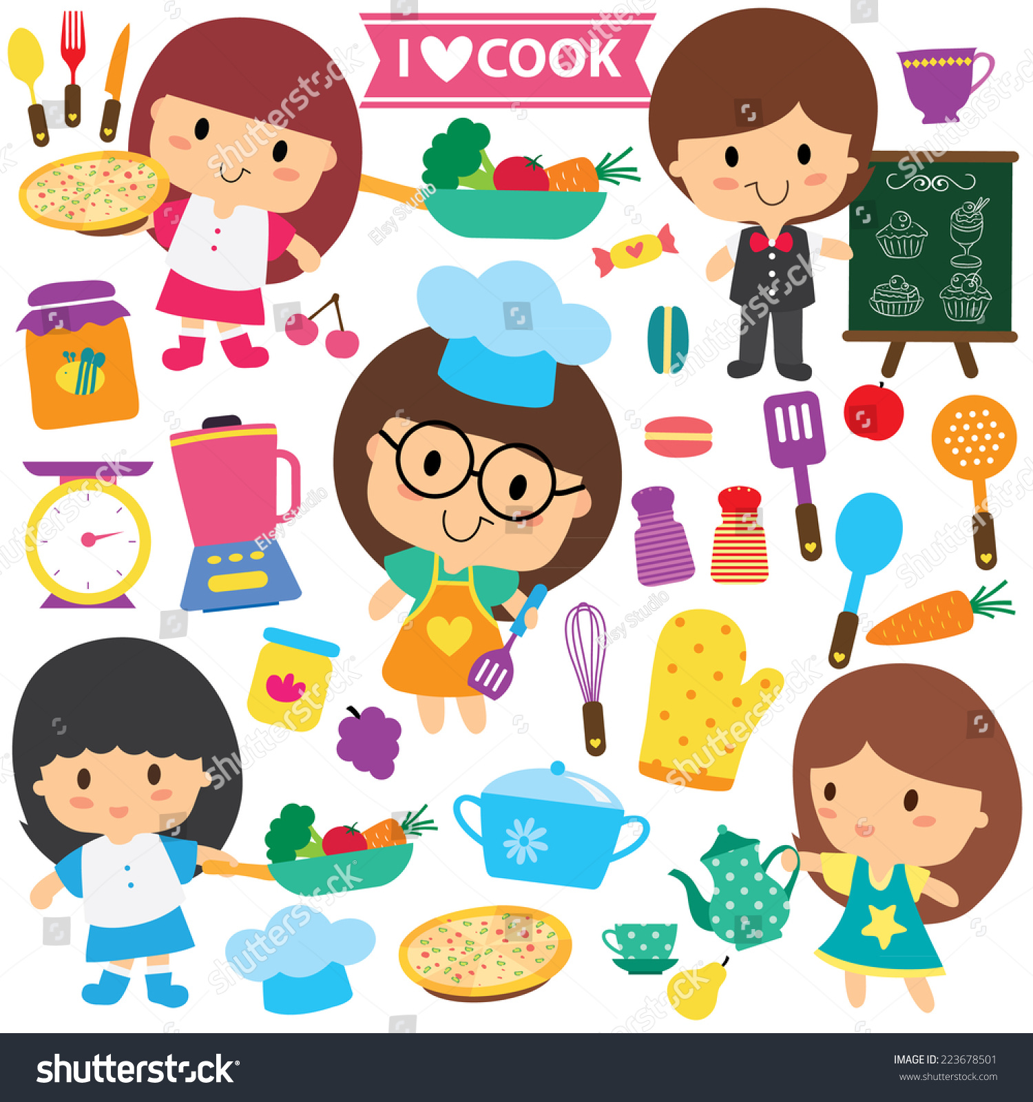 Play kitchen clip art - Chef Kids And Kitchen Elements Clip Art Set