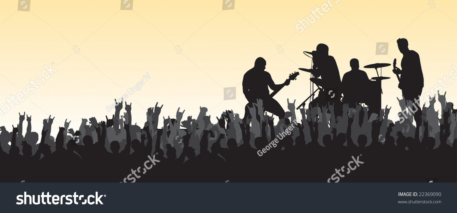 Concert Silhouette Crowd Rocking Out Perfect Stock Vector ...