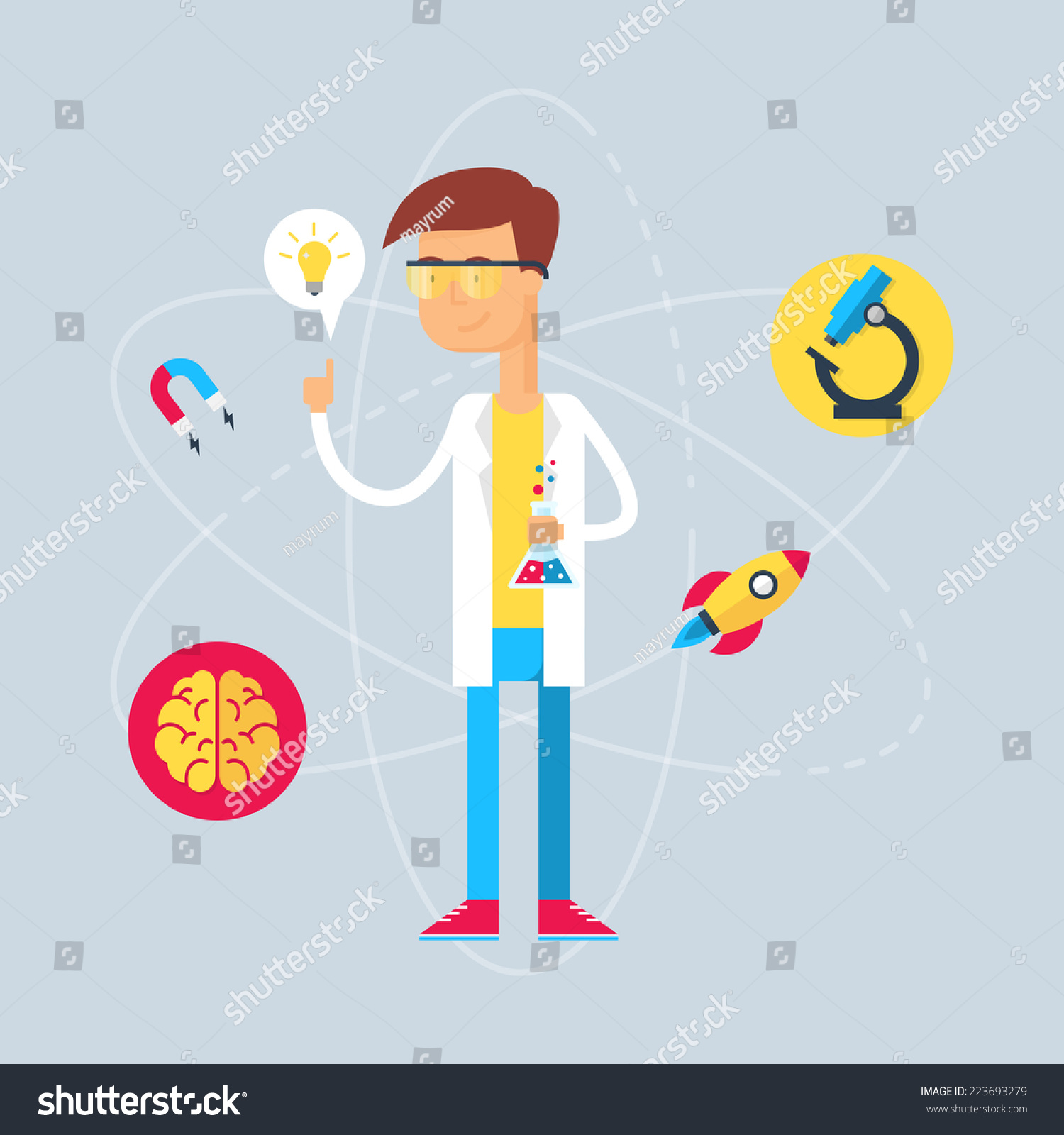 character scientist vector illustration flat style stock vector royalty free 223693279 https www shutterstock com image vector character scientist vector illustration flat style 223693279