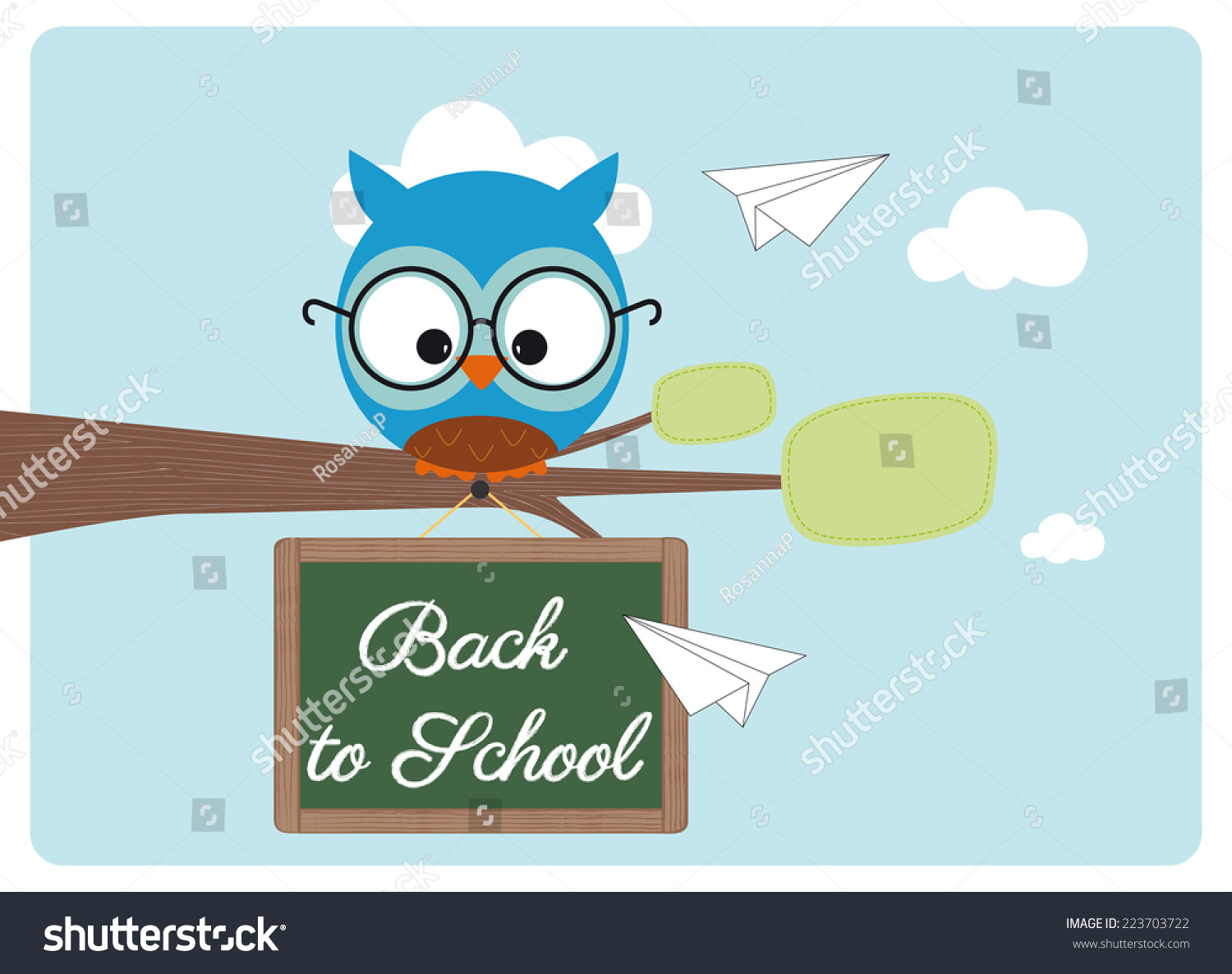 Back School Cute Owl Pair Glasses Stock Vector 223703722 ... - photo#38