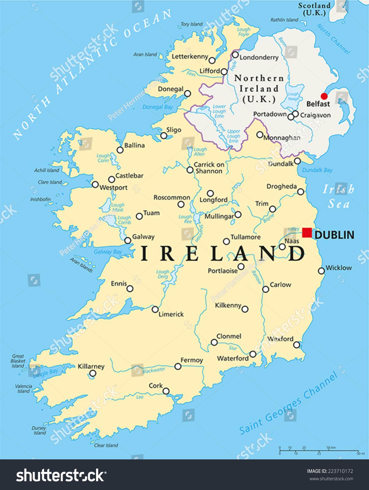 Ireland Map With Cities.Ireland Political Map Capital Dublin National Stock Vector Royalty