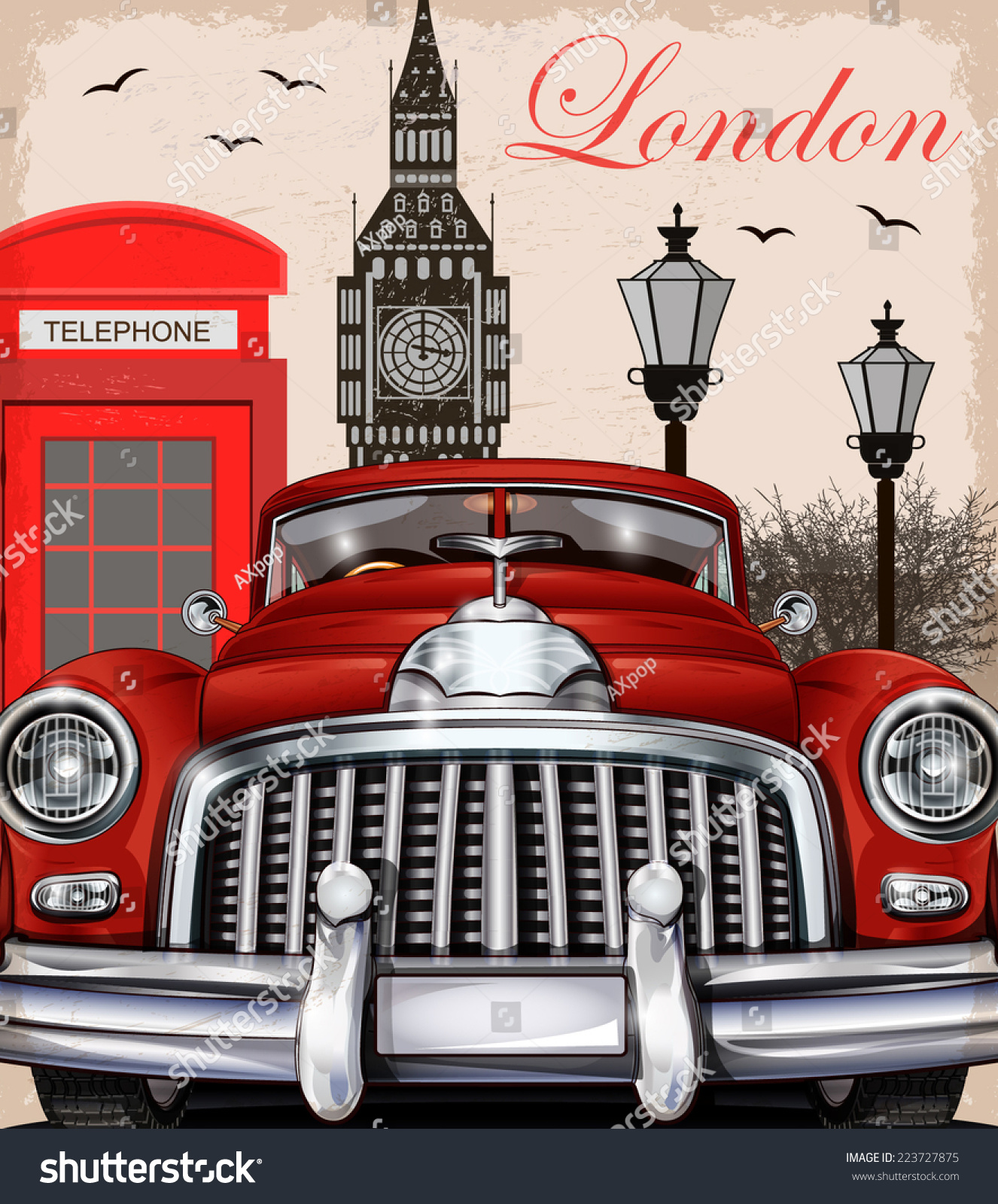 London retro poster stock vector 223727875 shutterstock for Imagenes retro vintage