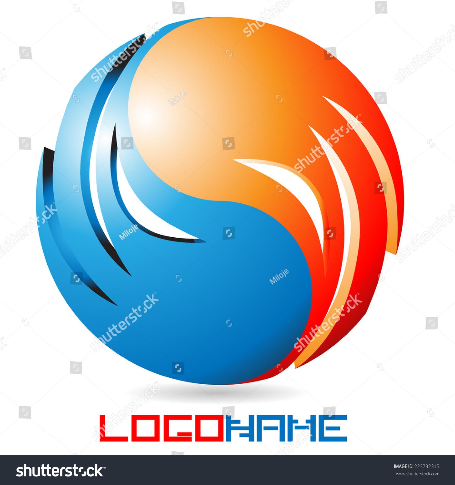 vector fire water drop logo icon stock vector 223732315 shutterstock rh shutterstock com Yin Yang Symbol Designs Yin Yang Transparent
