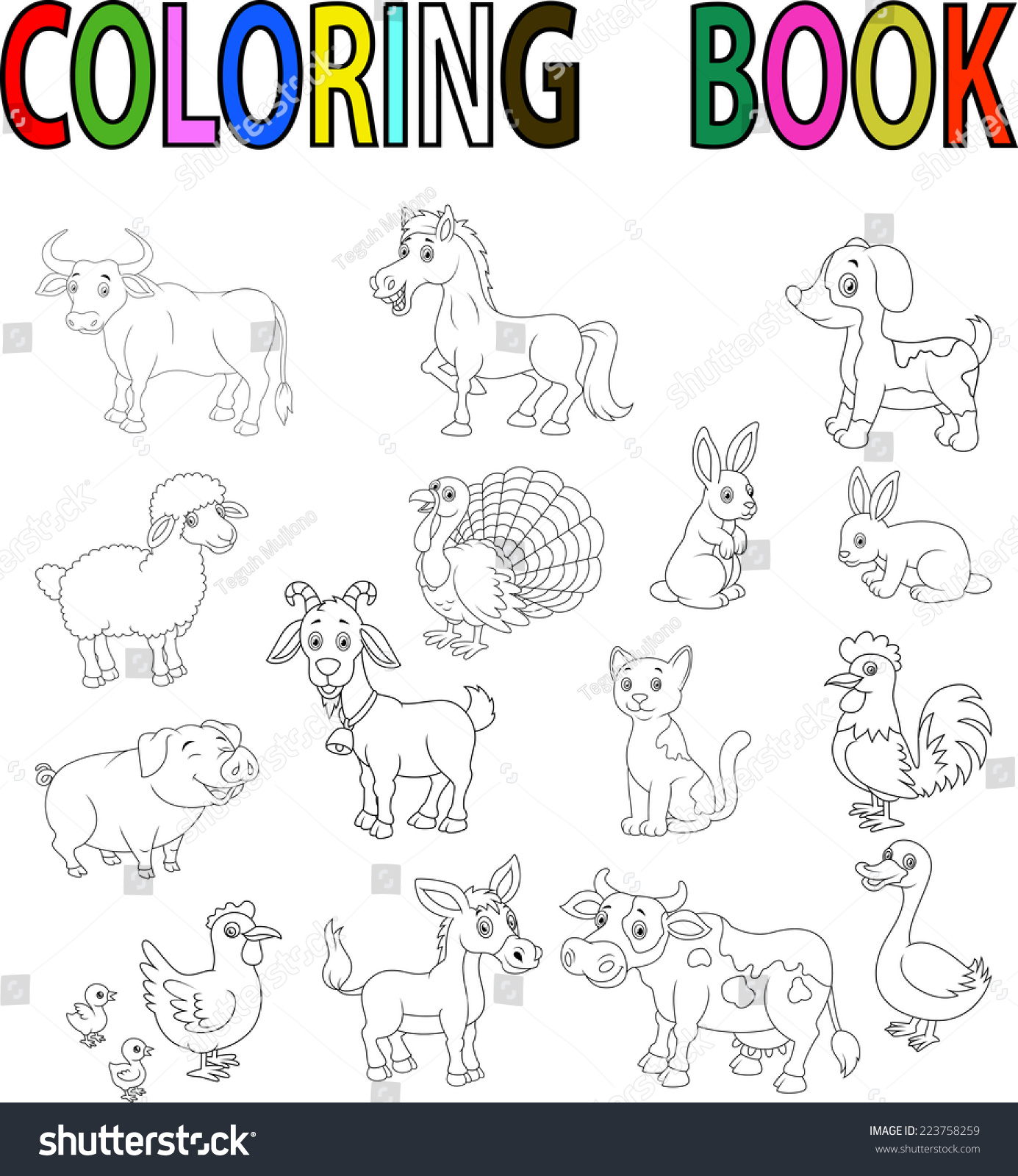 Farm Animal Coloring Book Stock Vector 223758259 - Shutterstock