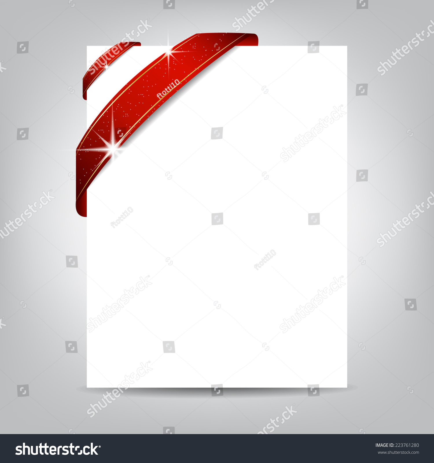 Christmas Flyer Template Paper Banner With Red Ribbon Cover Design Can Be Used