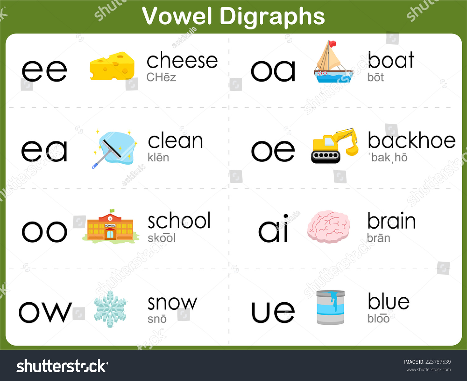 Worksheets Vowel Digraph Worksheets vowel digraphs worksheets long ow worksheet for kids stock vector illustration