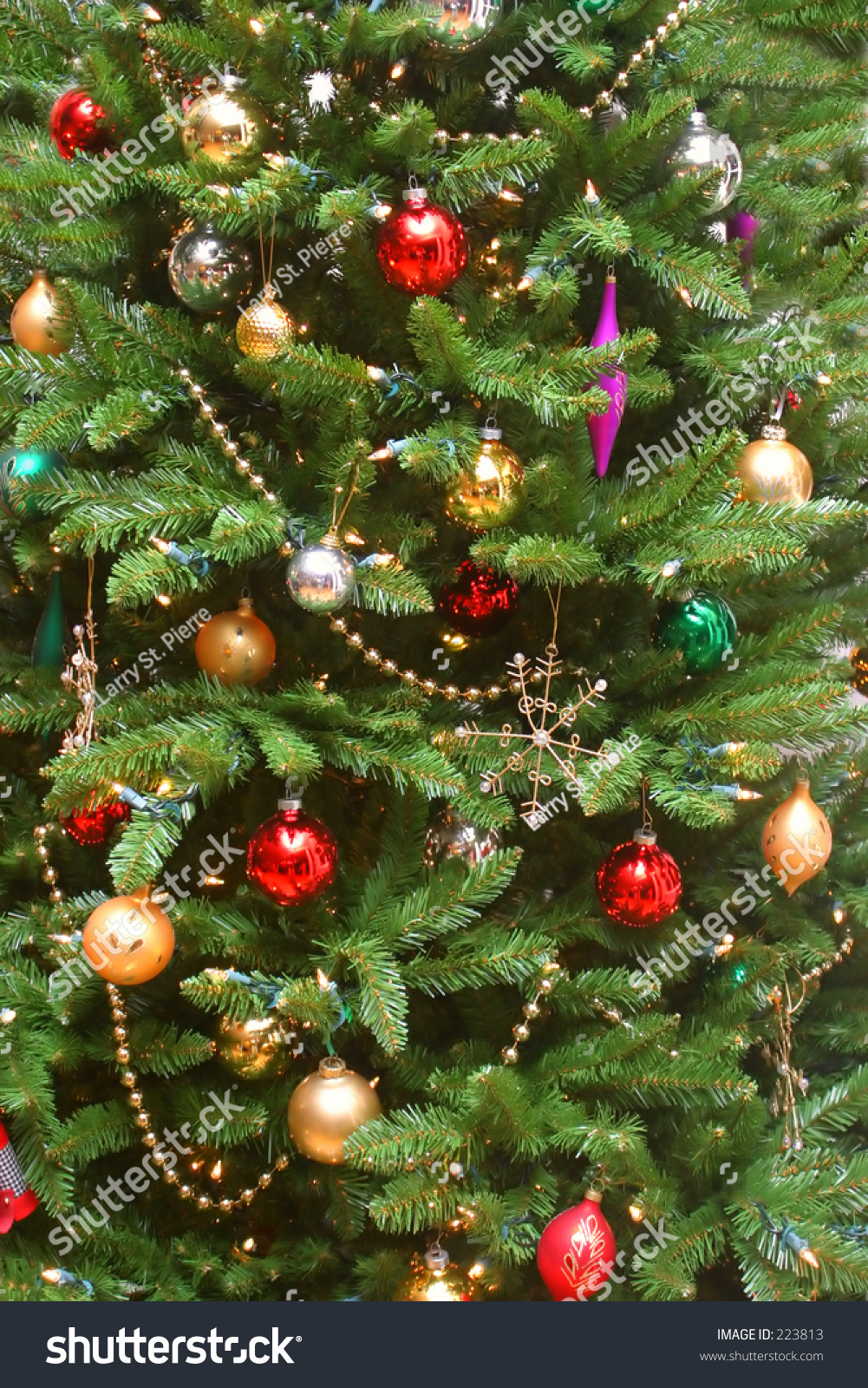 Colorful christmas tree with decorations stock photo for Colorful christmas tree decorations