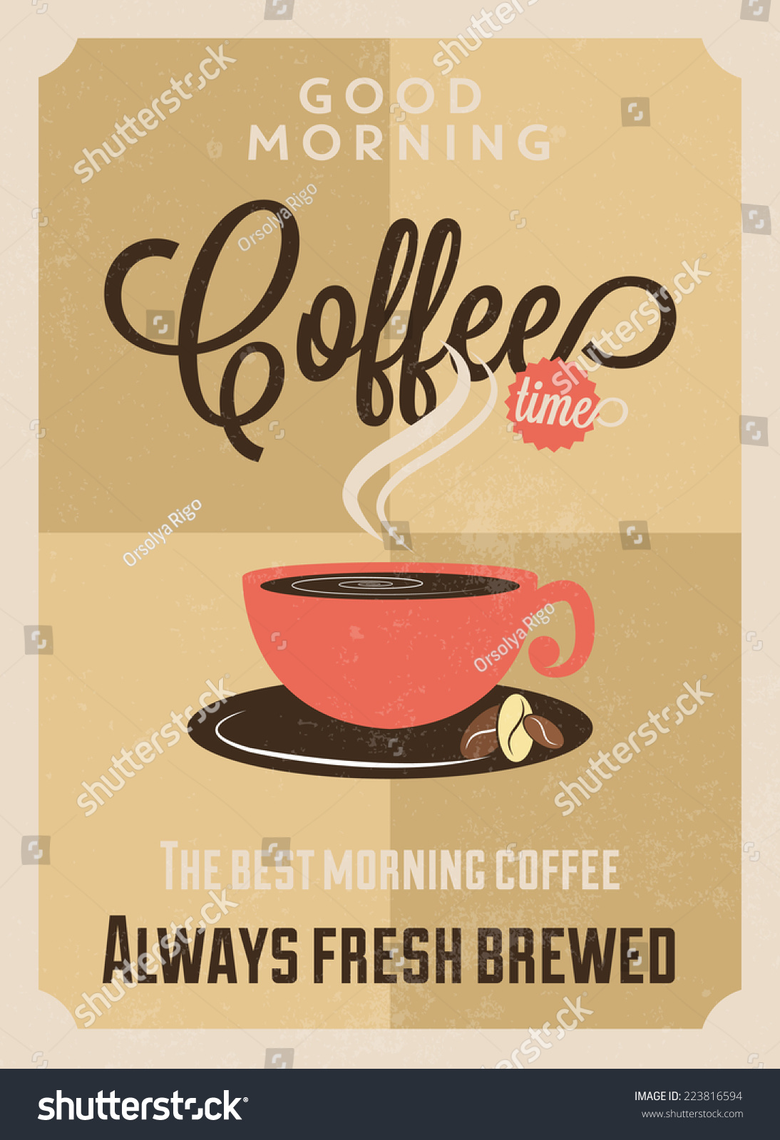 Coffee Posters Retro ~ Coffee vintage poster flat design style stock vector