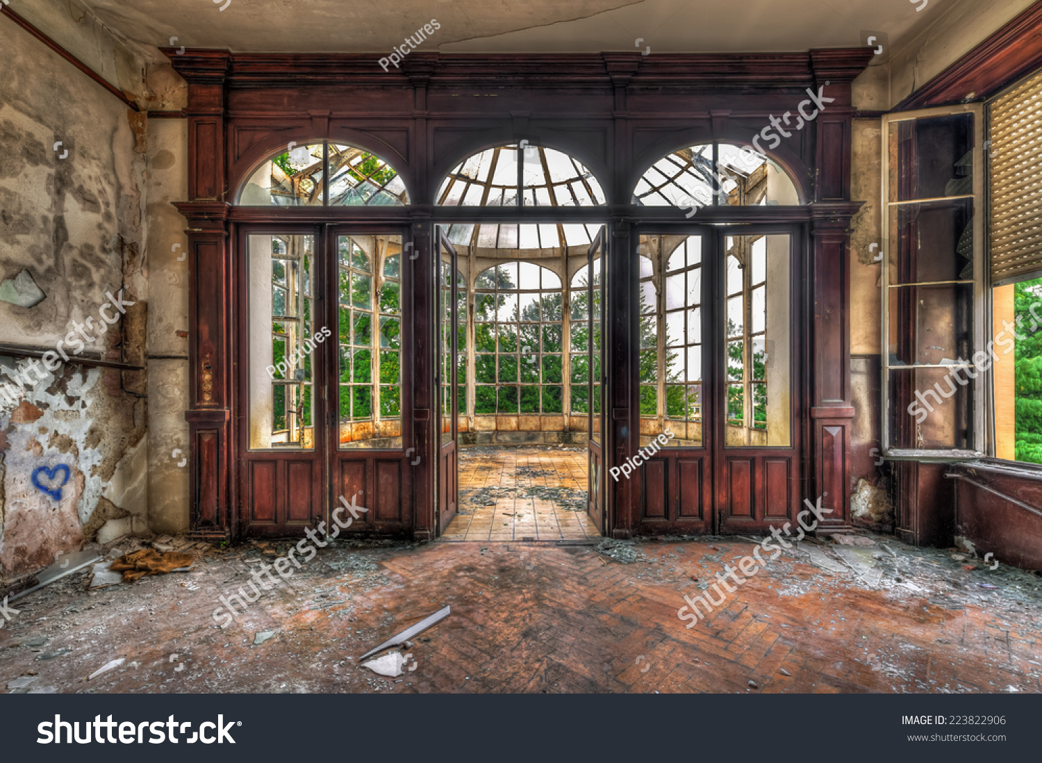 Abandoned Room With View Through Beautiful Broken