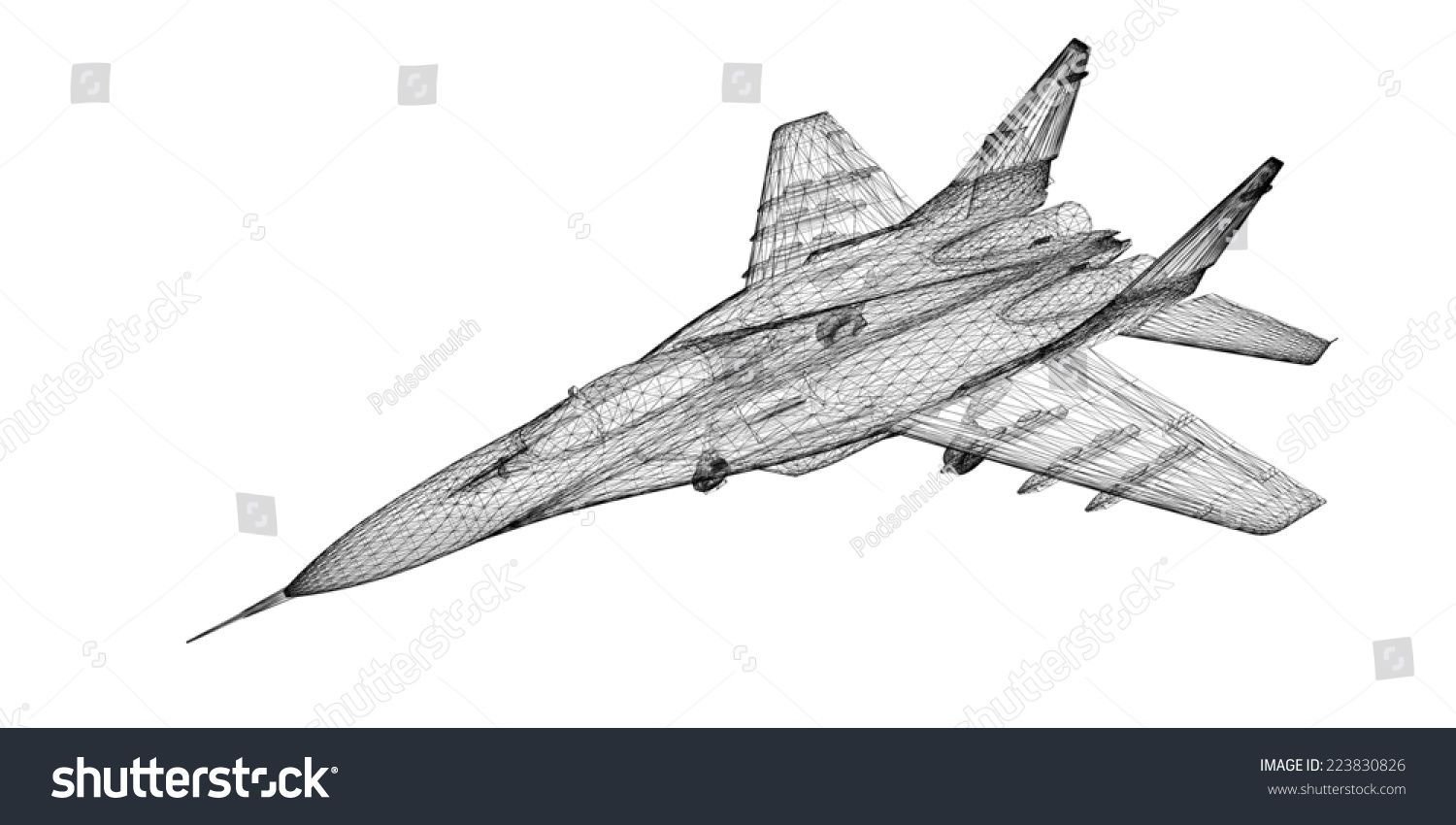 Fighter Plane Model Body Structure Wire Stock Illustration 223830826 ...