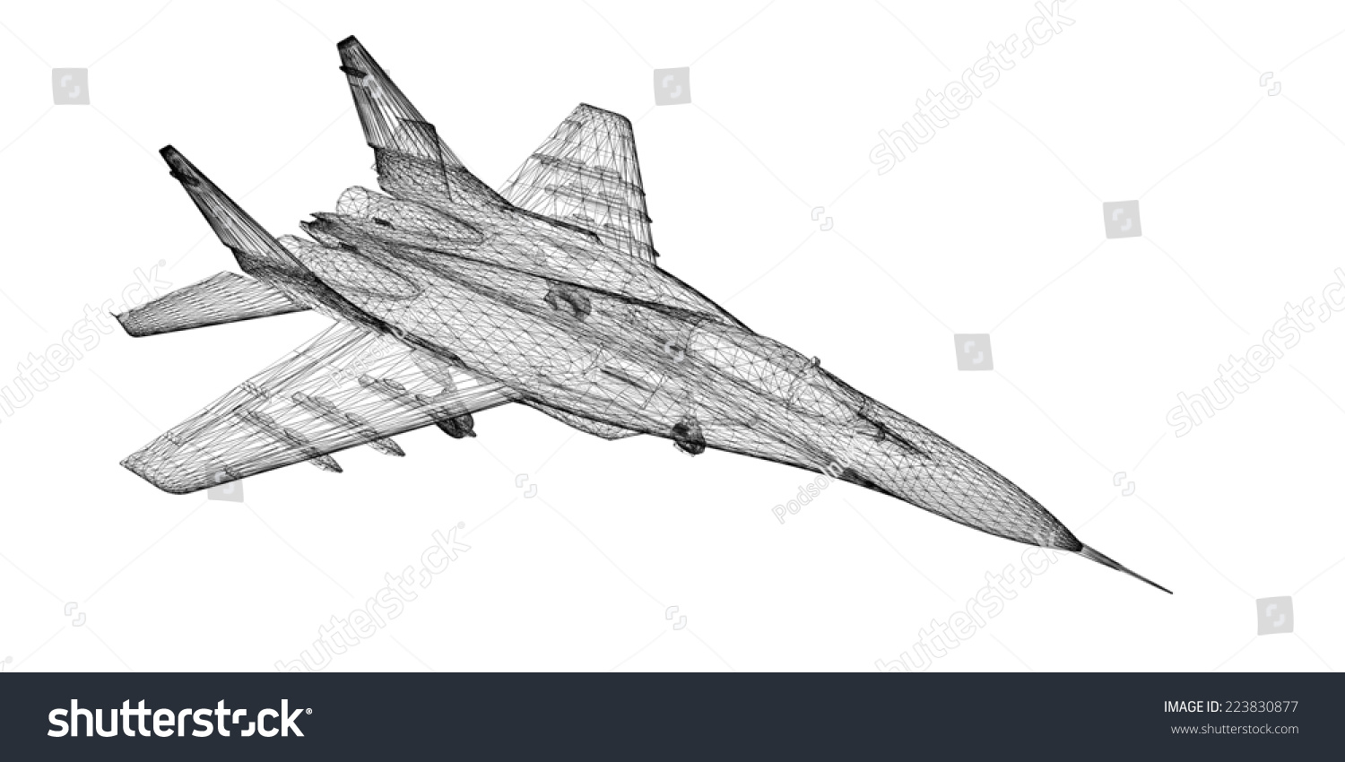 Fighter Plane Model Body Structure Wire Stock Illustration 223830877 ...