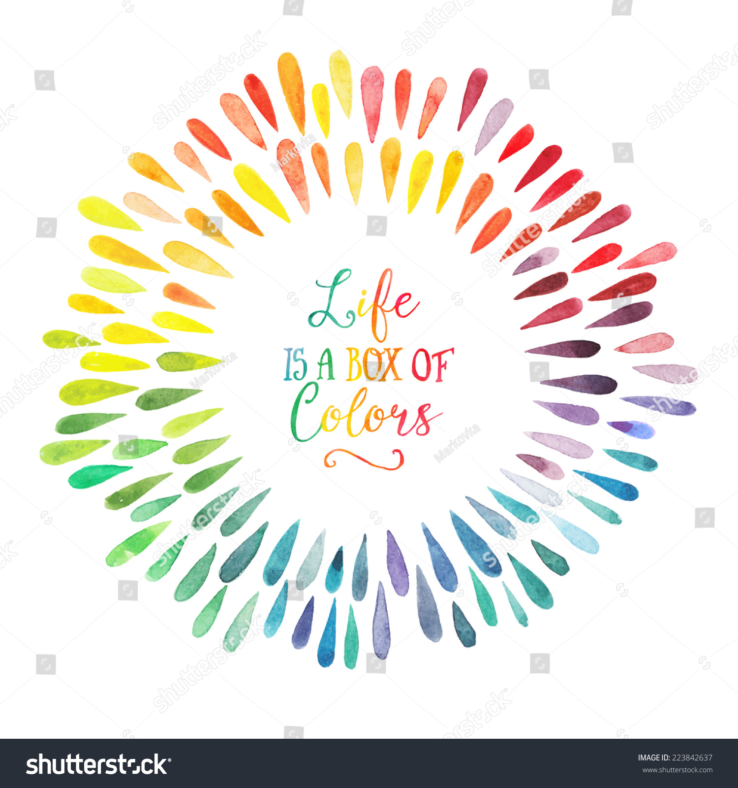 Rainbow Quotes For Motivation At Work: Vector Watercolor Wreath Colorful Rainbow Drops Stock