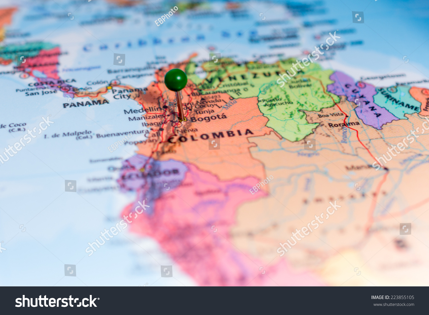 Map Green Pin Placed On Bogota Stock Photo (Edit Now) 223855105 ...