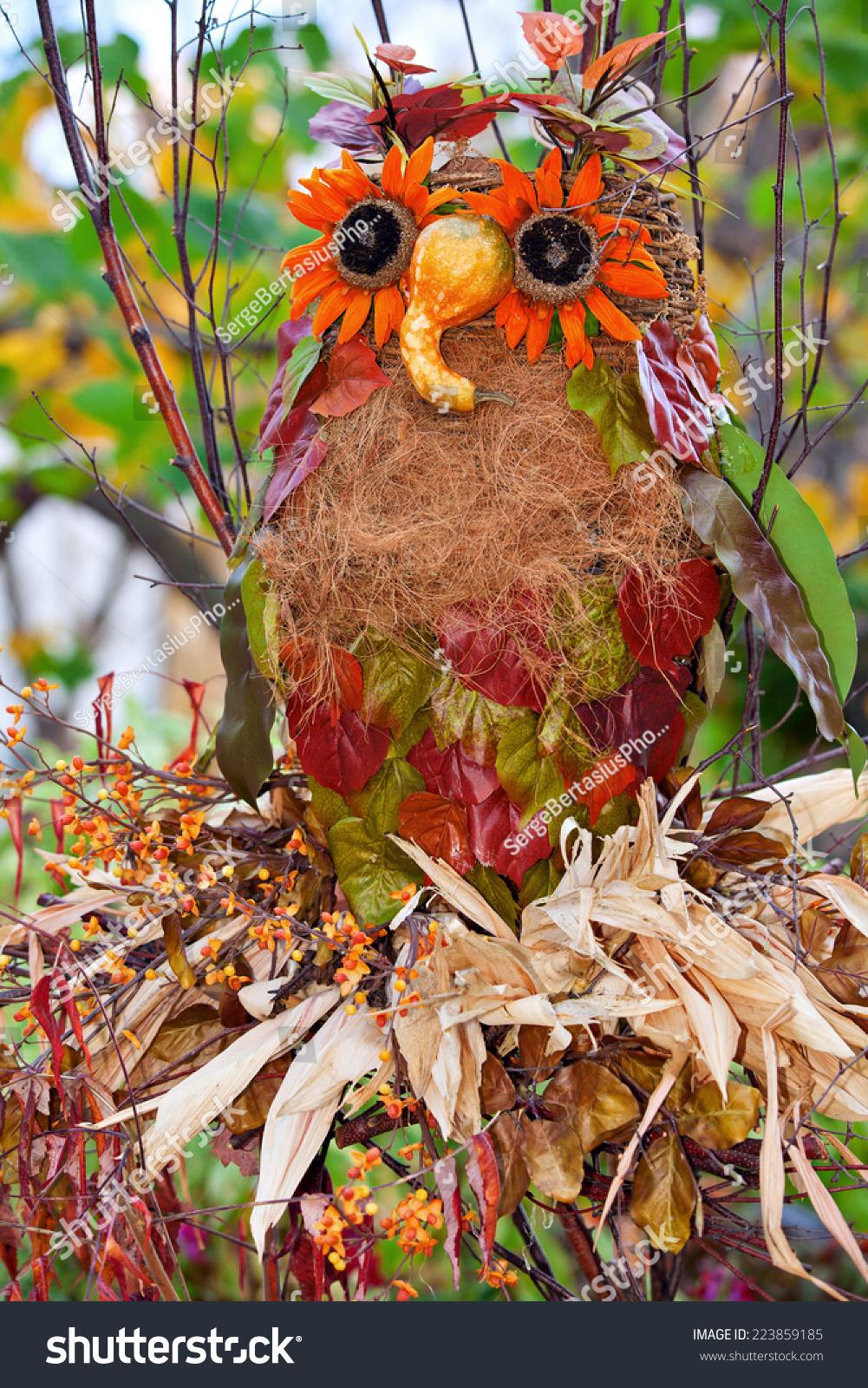 Creative Owl Scarecrow Countryside Garden Stock Photo (Edit Now ...