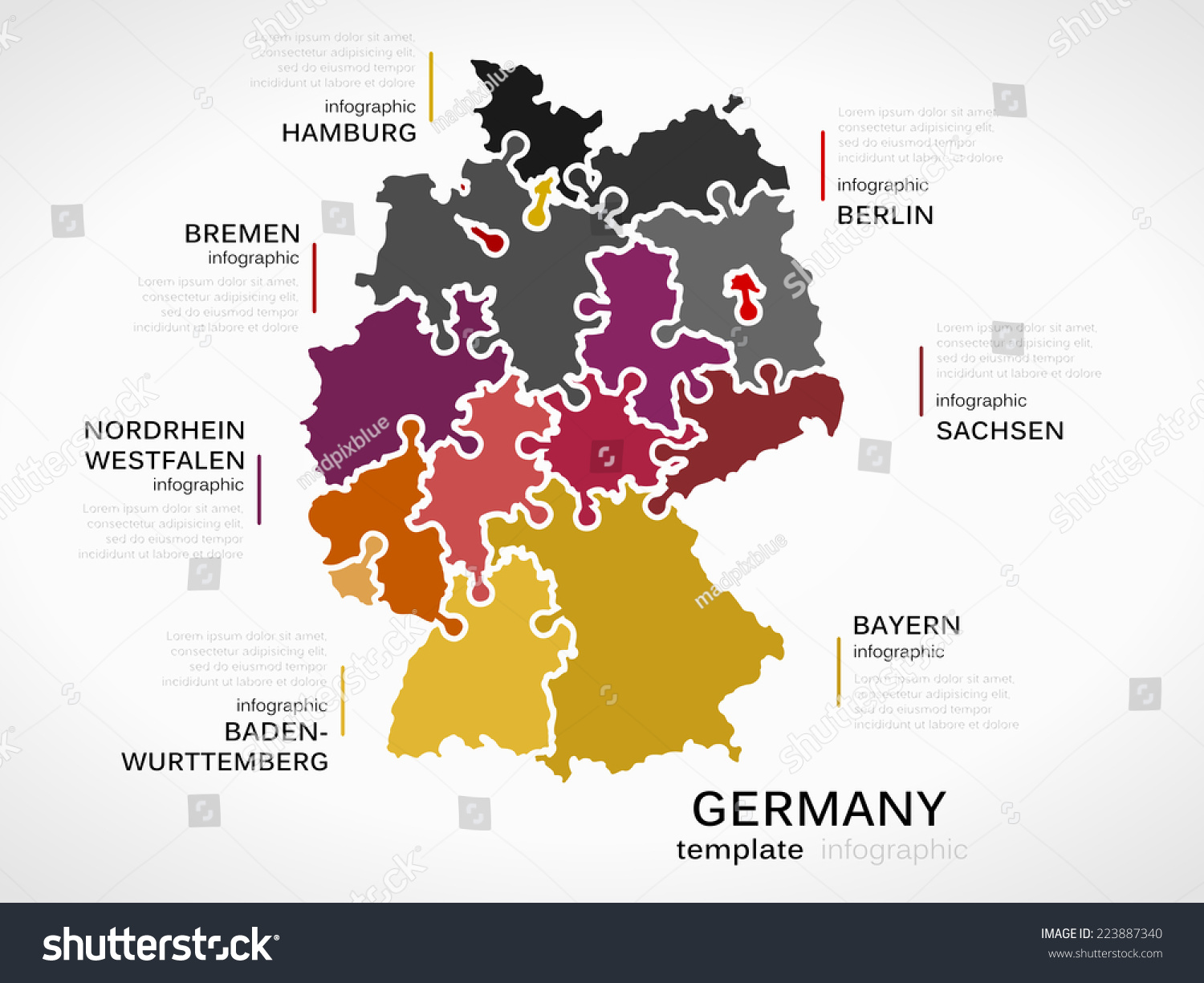 Map Germany Concept Template States Made Stock Vector - Germany map template
