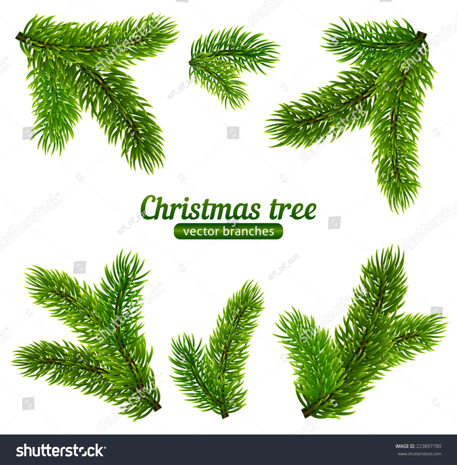 christmas tree branch vector - photo #7