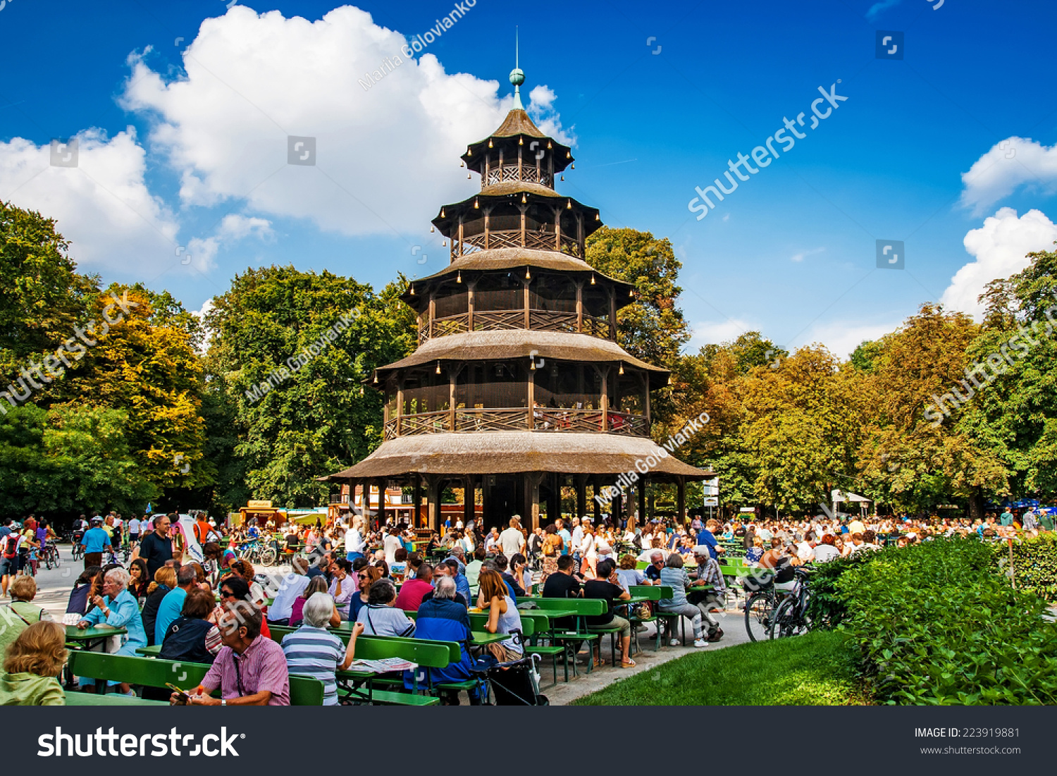 munich germany september 07 2014 biergarten near chinese tower in english garden on. Black Bedroom Furniture Sets. Home Design Ideas