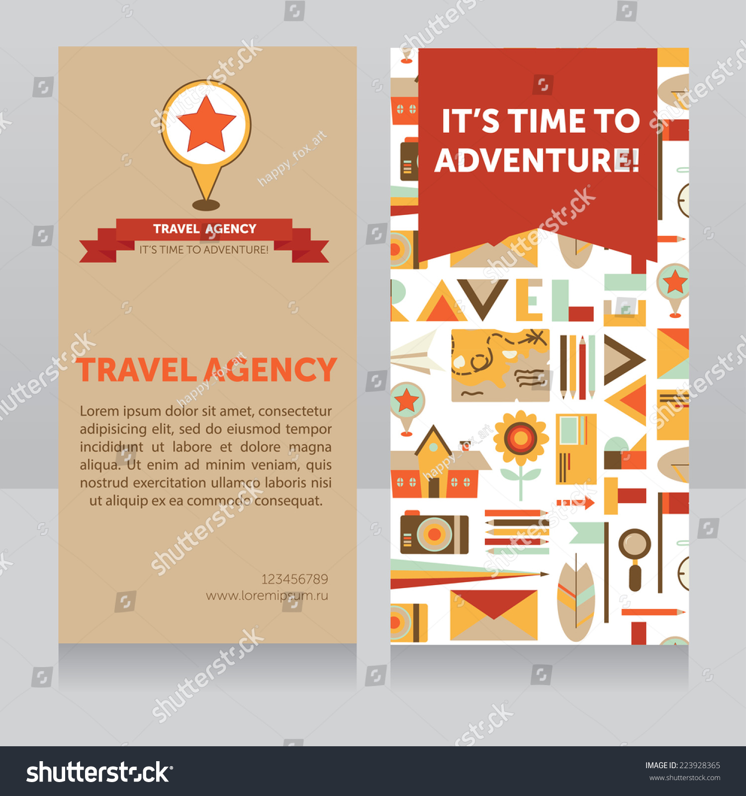 Design Template Travel Agency Business Card Stock Vector 223928365 ...