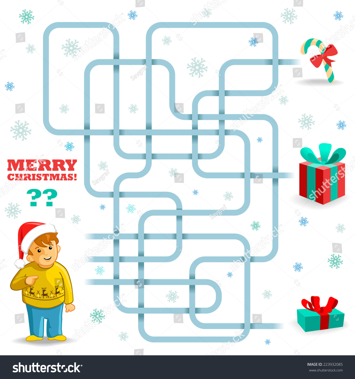 Funny Christmas Maze Game Boy Needs Stock Vector (Royalty Free ...