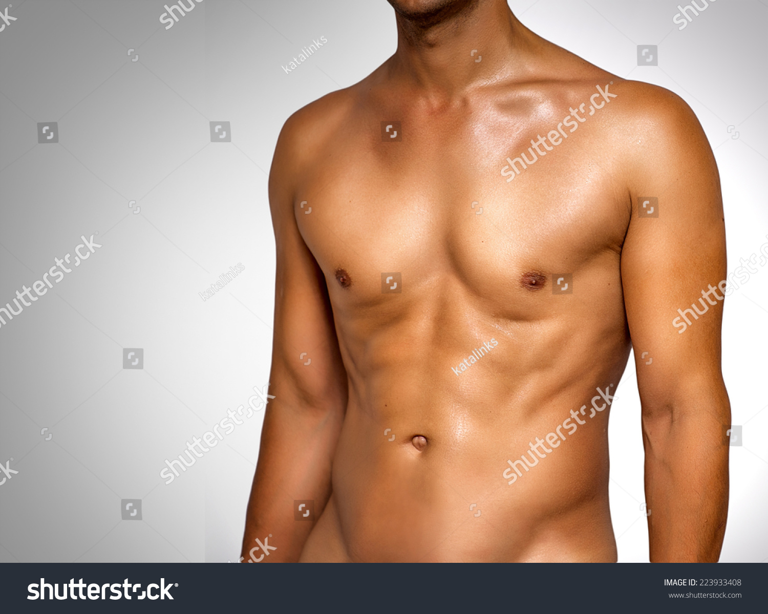 Nude Wet Muscular Torso Unknown Man Stock Photo Royalty Free