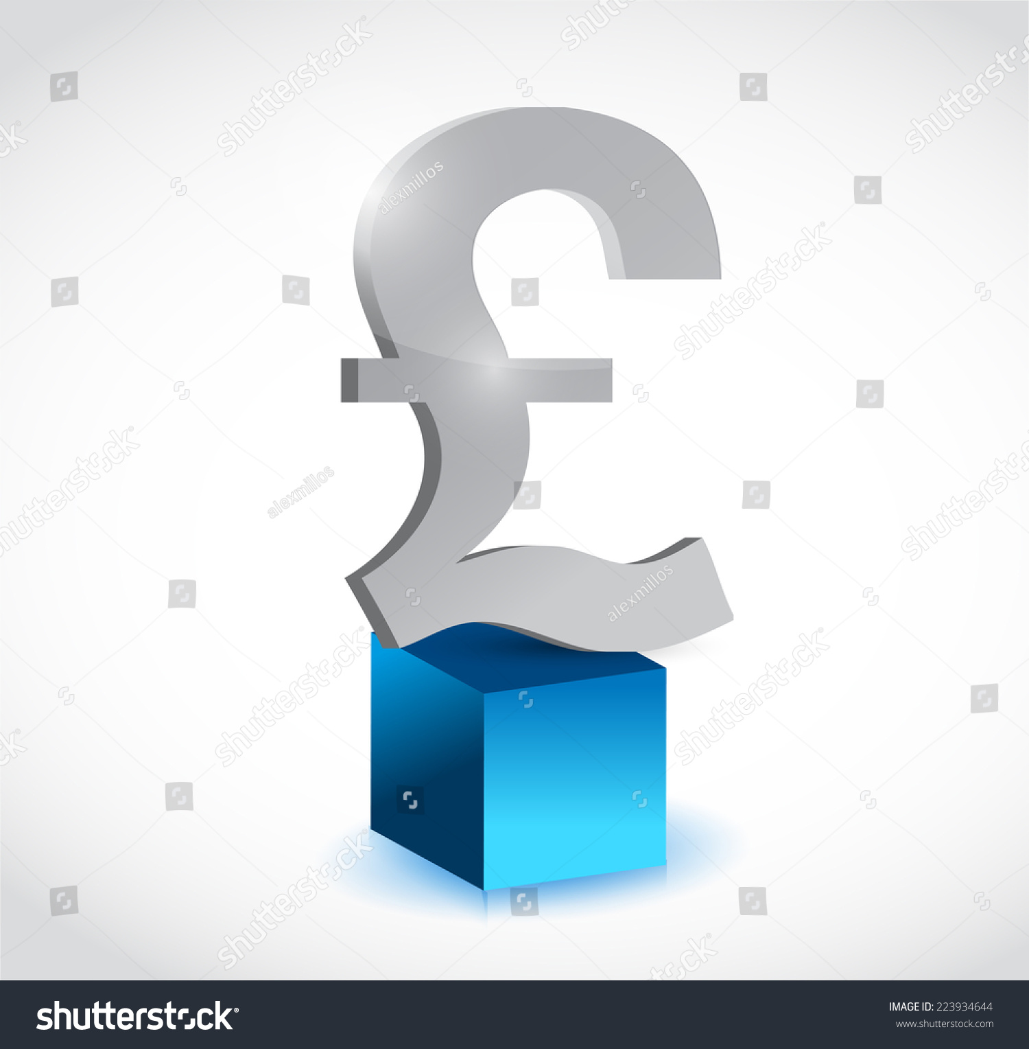 British Pound Currency Symbol Over Cube Stock Illustration 223934644