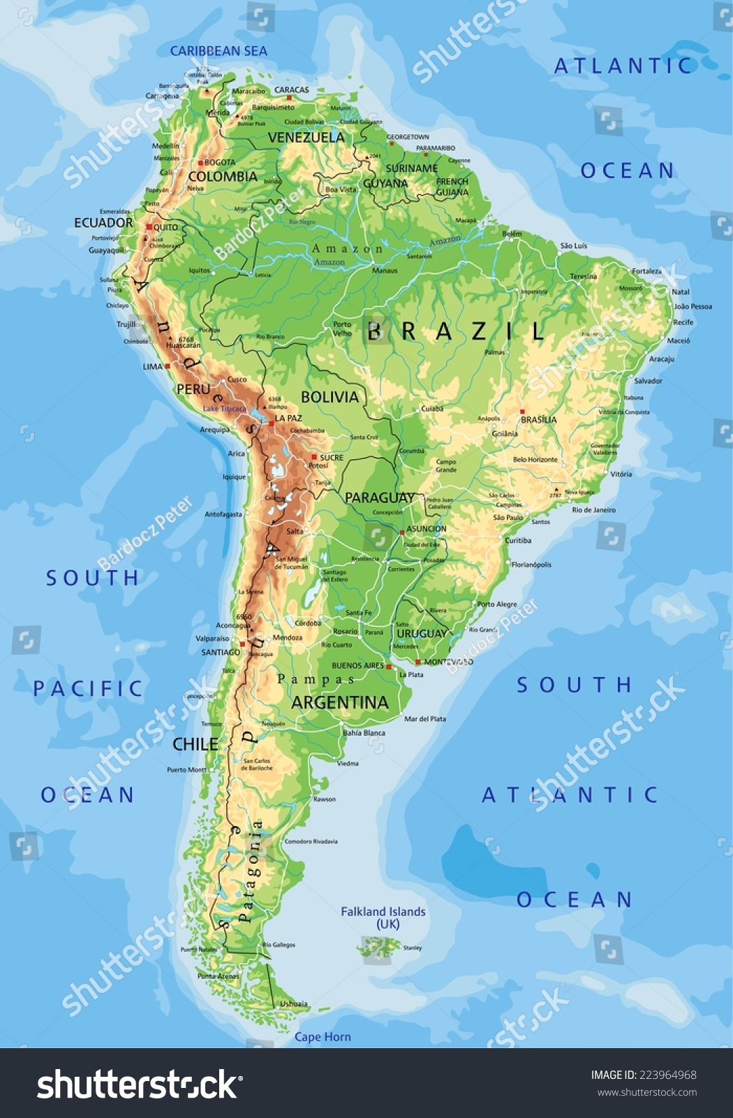 High Detailed South America Physical Map Stock Vector - Physical map of south america
