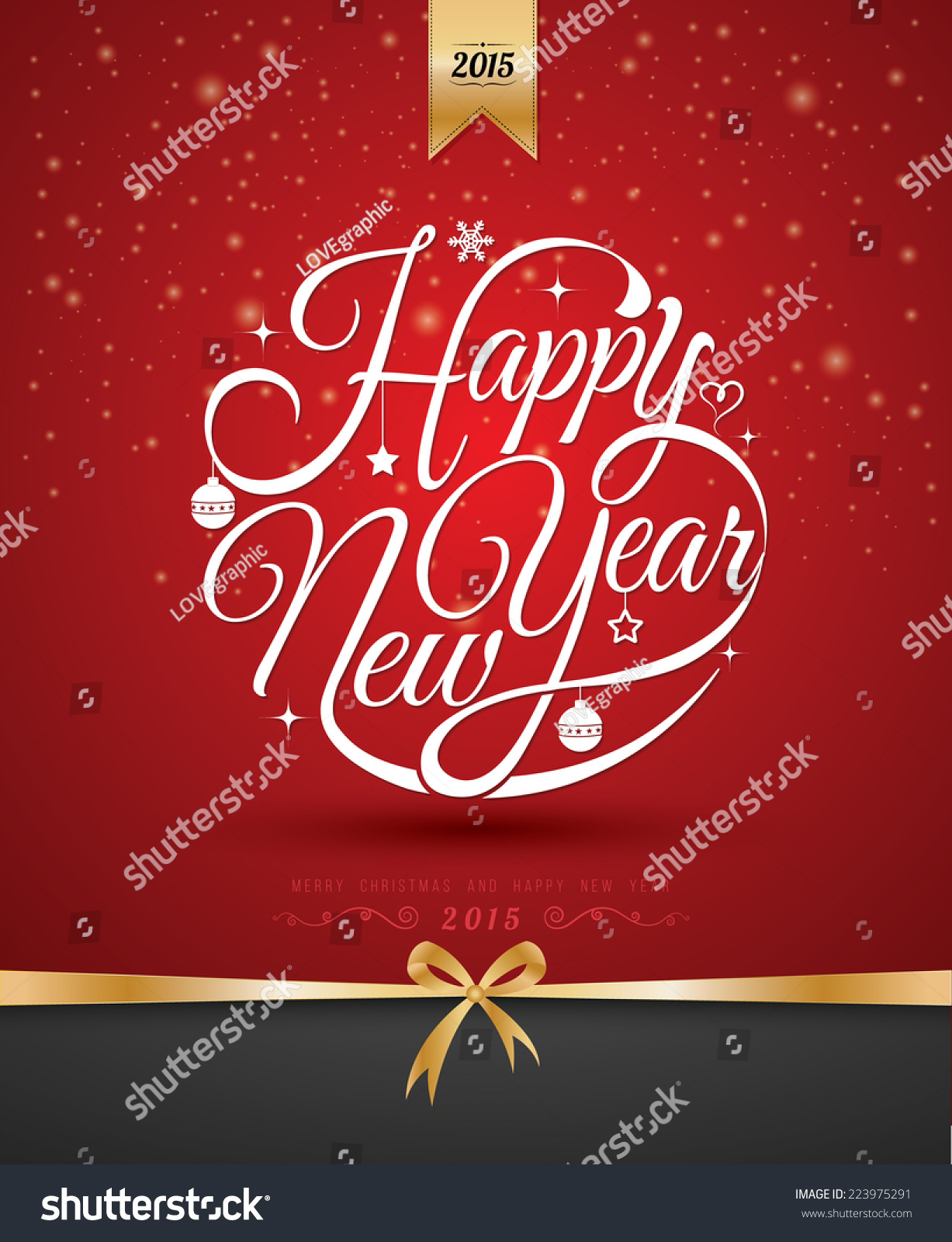 Happy New Year Lettering Greeting Card Stock Vector ...