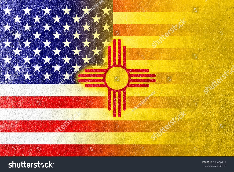 Usa new mexico state flag painted stock illustration 224000719 usa and new mexico state flag painted on leather texture buycottarizona