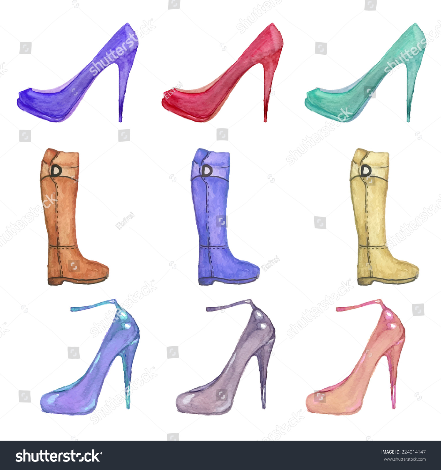 Boots fashion pic boots clip art - Set Of Watercolor Shoes With Heels And Boots Multicolor Fashion Objects Clip Art In Vector