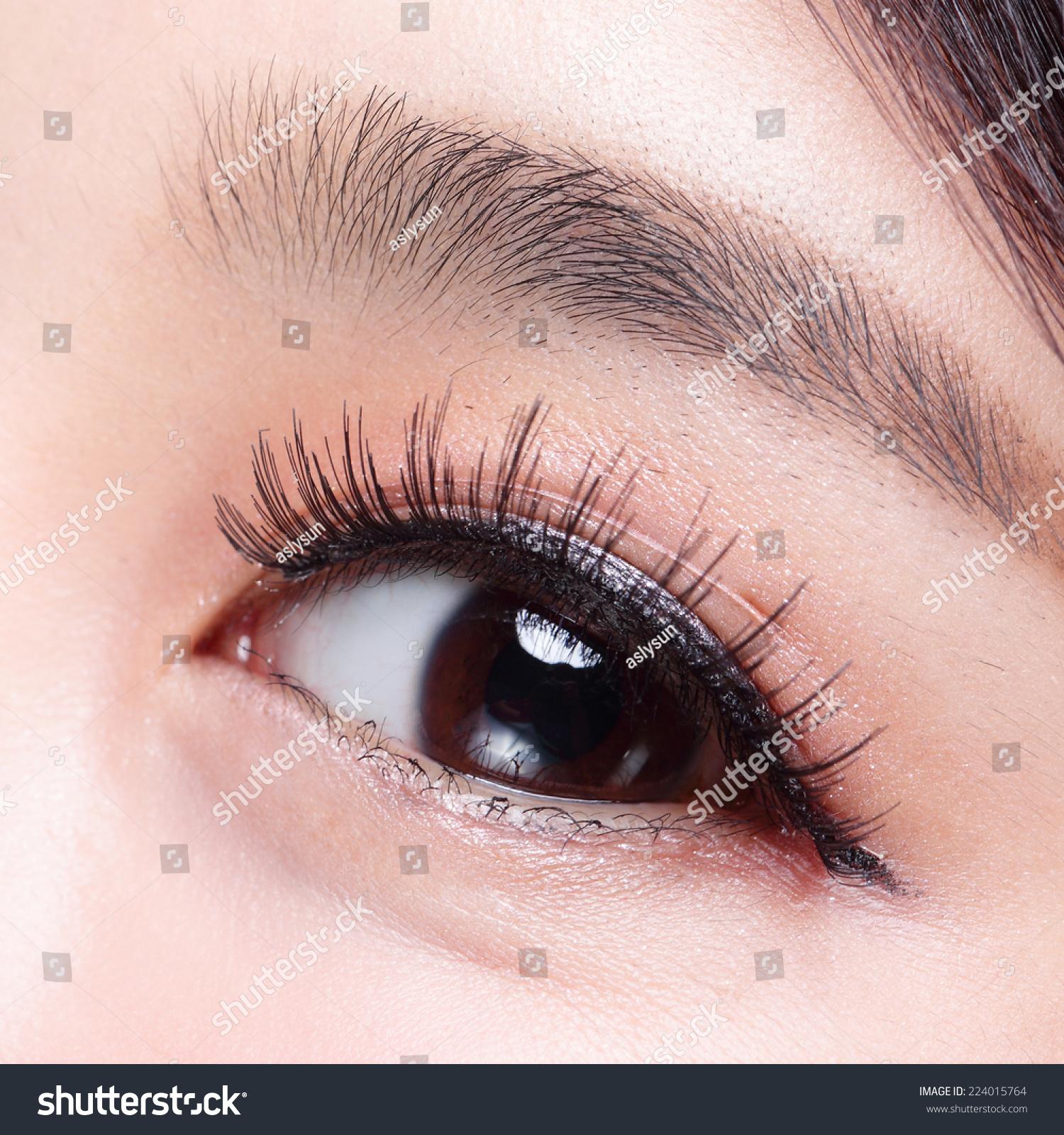 Beautiful Woman Eye Long Eyelashes Asian Stock Photo 224015764 ...