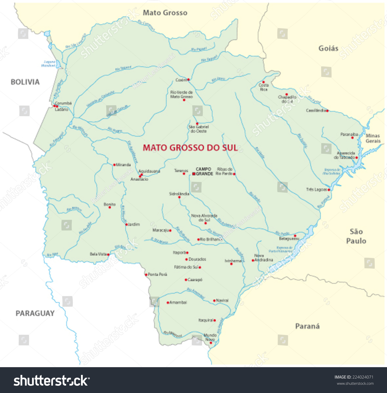Mato Grosso Do Sul Map Stock Vector (Royalty Free) 224024071