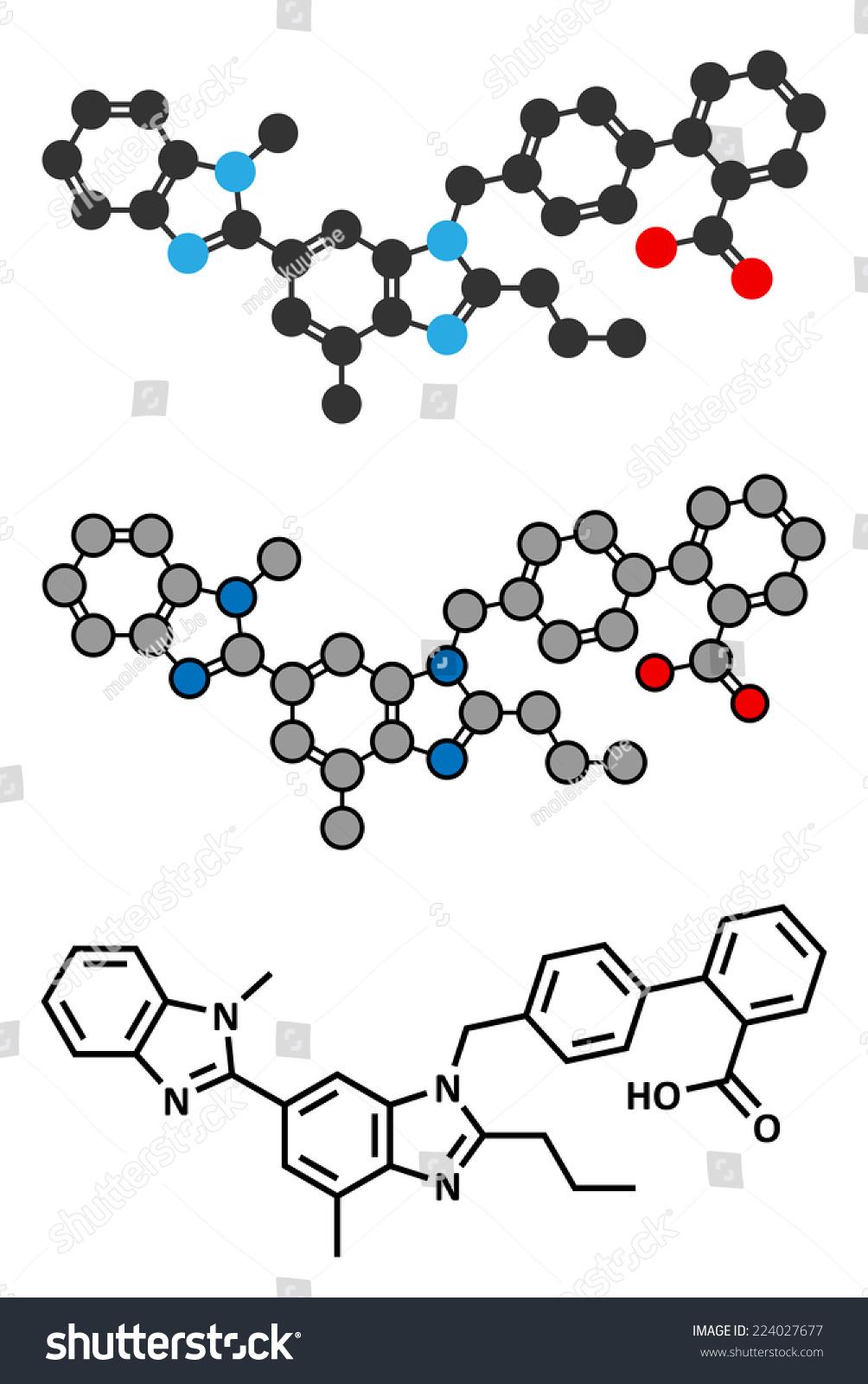 替米沙坦高血压药物分子。用于治疗高血压。程