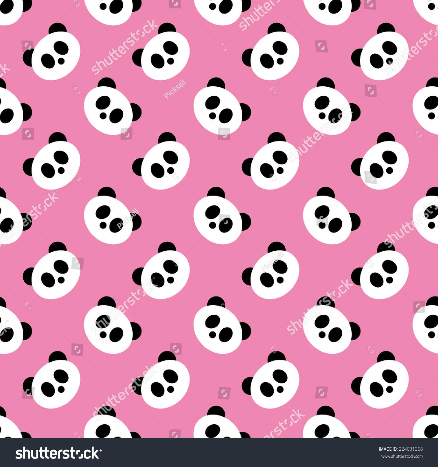 stock vector seamless pink panda pattern vector 224031358