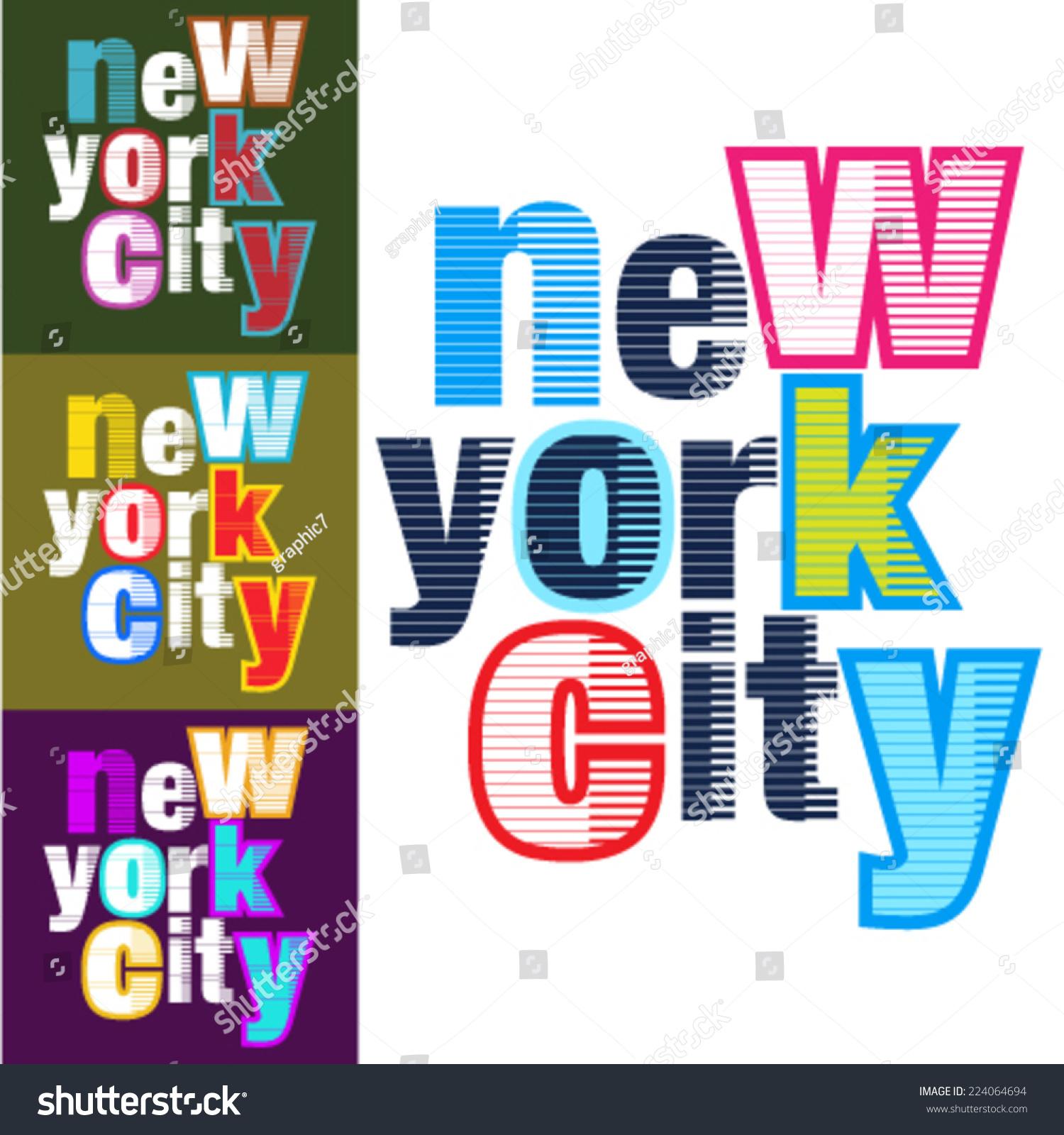 Design t shirt artwork - Set Of Touristic Typographical Background New York City Vector Design T