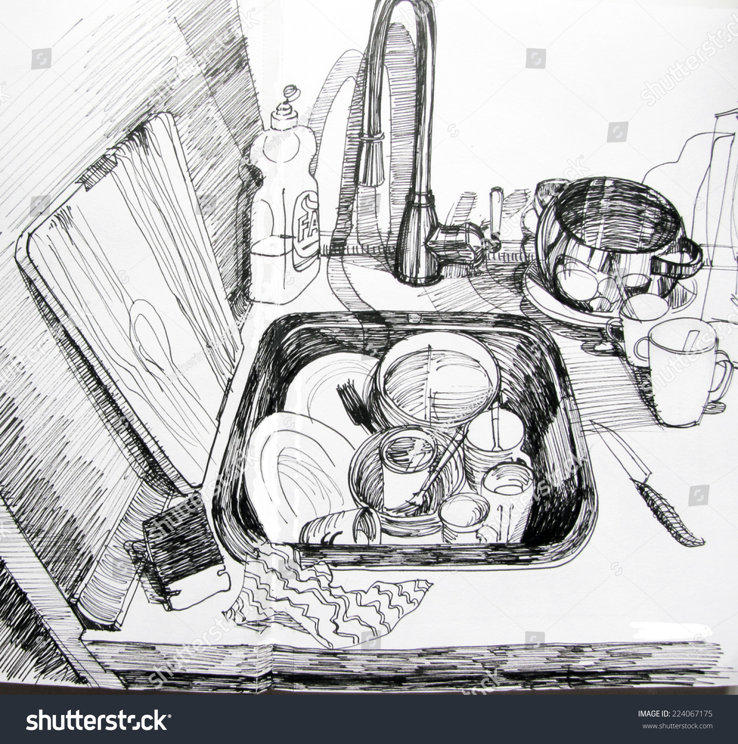 The Kitchen Sink Art Drawing Sketch Sketchbook By: Dishes In The Sink. Hand-Drawn Liner Graphic Illustration