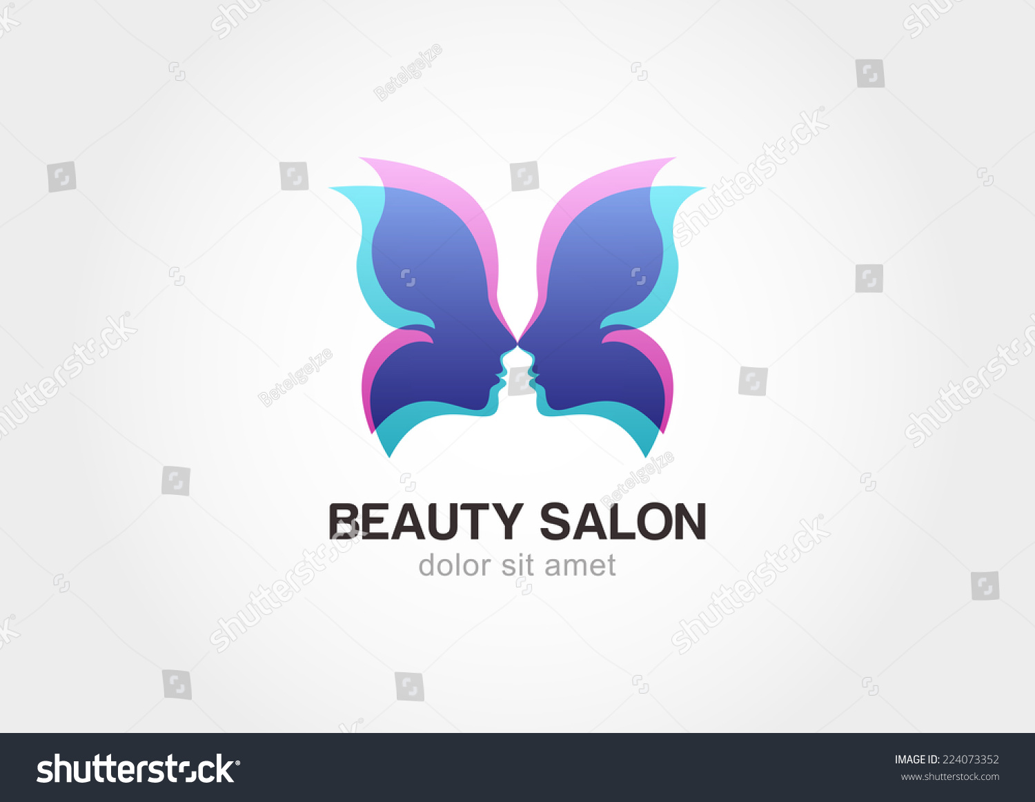 Womans face butterfly wings shape abstract stock vector for Abstract beauty salon