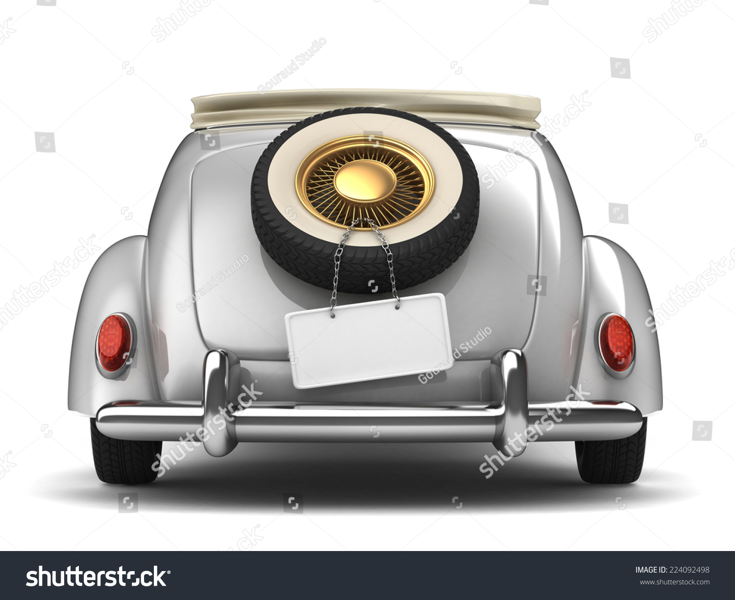 Vintage White Bridal Car Stock Illustration 224092498 Shutterstock