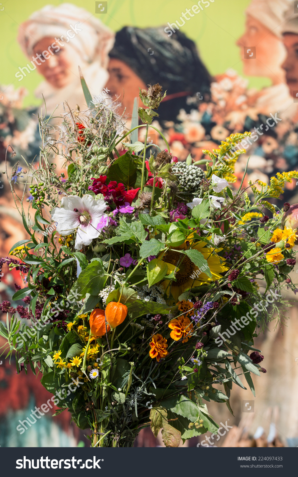 Beautiful Bouquets Flowers Herbs Stock Photo (Safe to Use) 224097433 ...