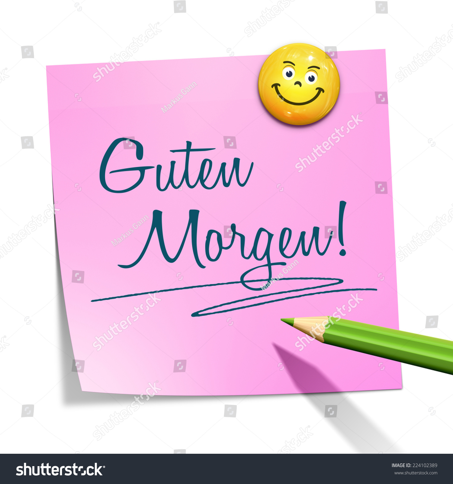 Good Morning Message In German : An image of a sticky paper with the message good morning