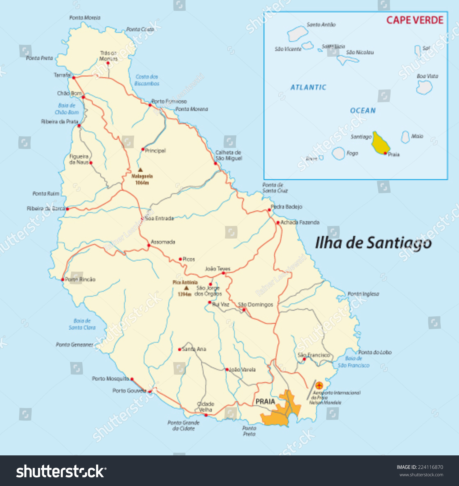 Santiago Islandcape Verde Map Stock Vector Shutterstock - Cape verde map