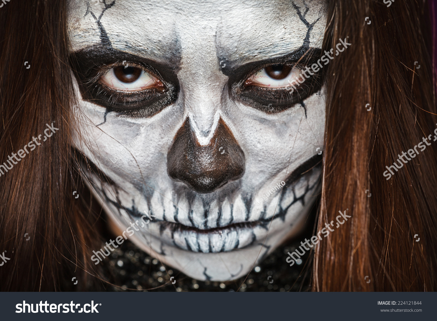Young Woman Day Dead Mask Skull Stock Photo 224121844 - Shutterstock