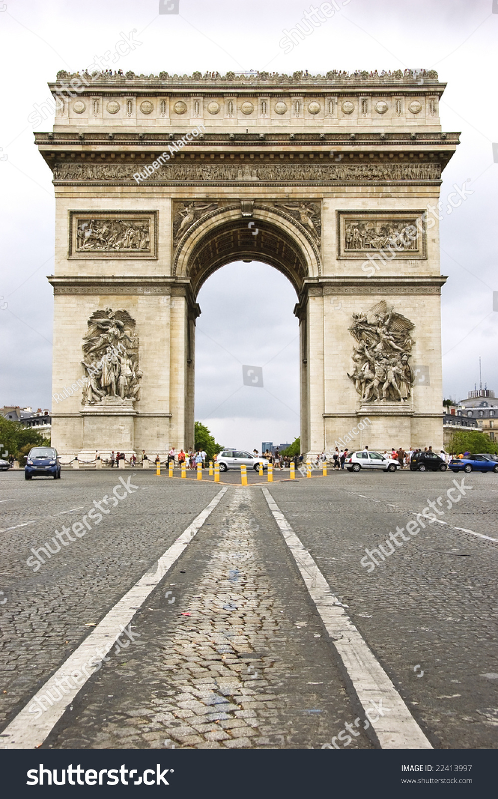 street level view arc de triomphe stock photo 22413997 shutterstock. Black Bedroom Furniture Sets. Home Design Ideas