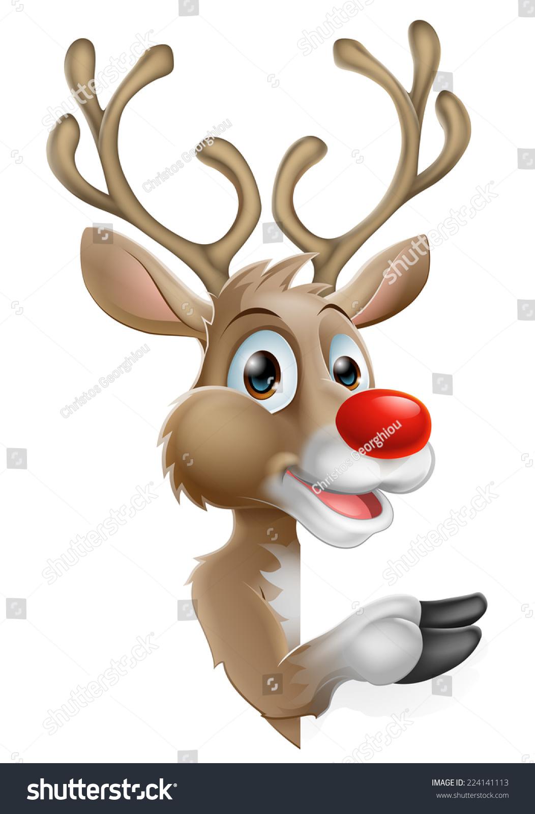 Cartoon santas christmas reindeer peeking around a sign