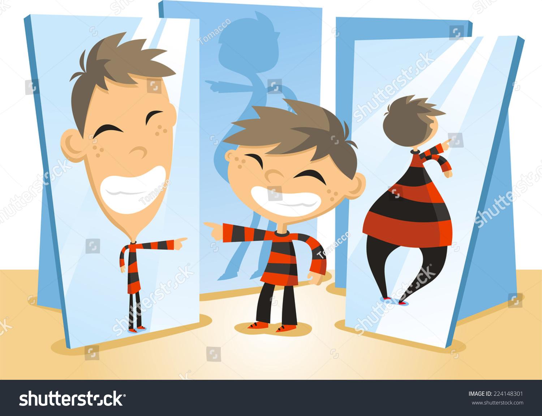 Fun Mirror House Boy Playing Cartoon Stock Vector